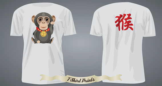 T-shirt design with lucky monkey and hieroglyph