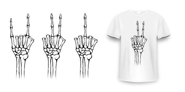 T-shirt design with skeleton hands. Vintage typography for tee print, skeleton hand with different gestures. Hand drawn human hands with bones fo tee print