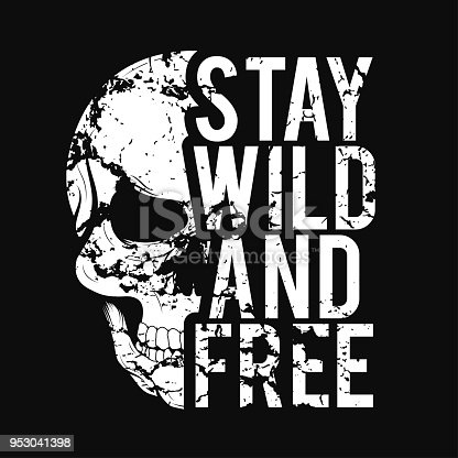 istock T-shirt design with skull and grunge texture. Vintage typography for tee print with slogan stay wild and free. T-shirt graphic 953041398