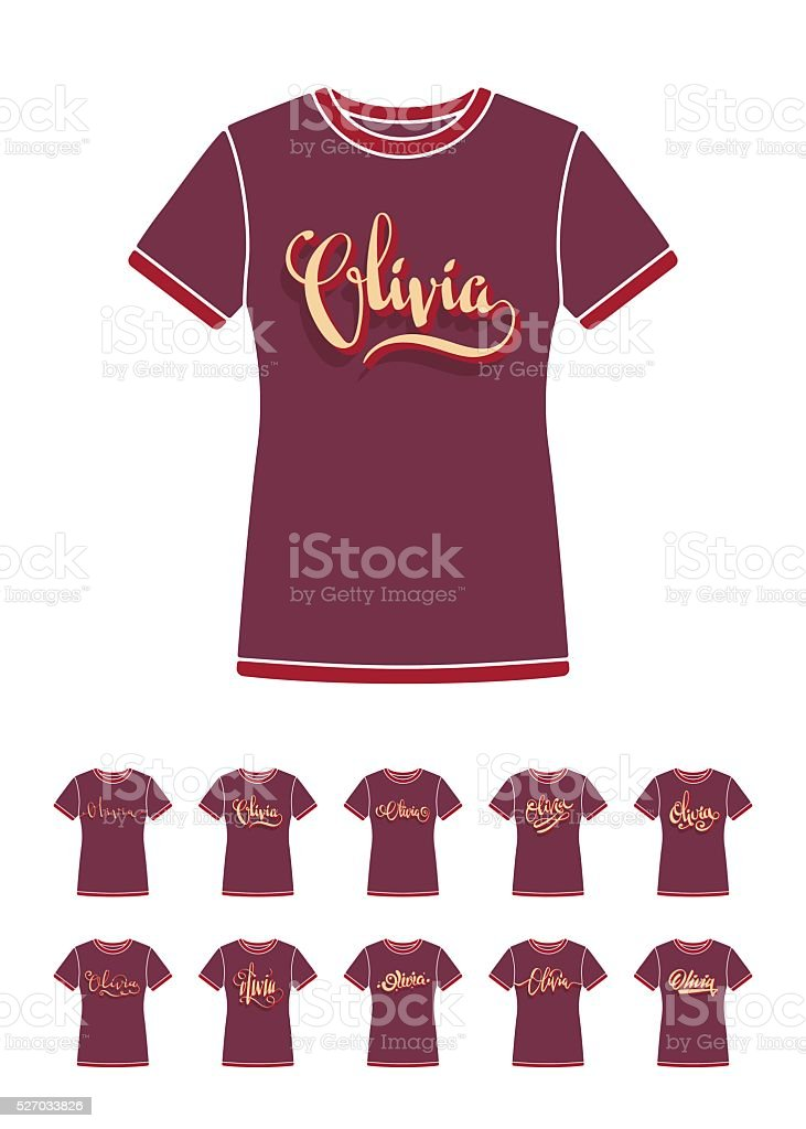 e5308a5002e04 T-Shirt design with the personal name Olivia royalty-free tshirt design  with the
