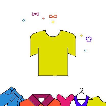 T-shirt filled line icon, garments simple illustration
