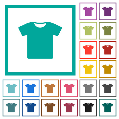 T-shirt flat color icons with quadrant frames