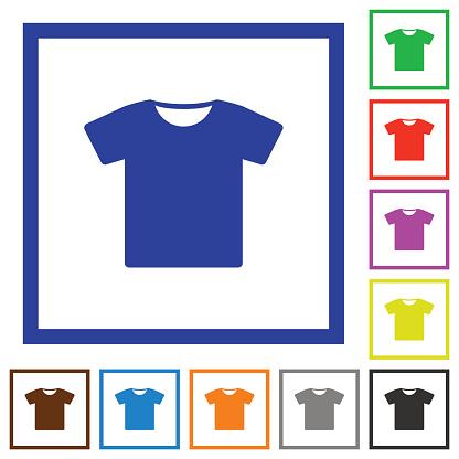 T-shirt flat framed icons