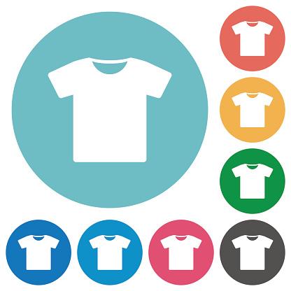 T-shirt flat round icons