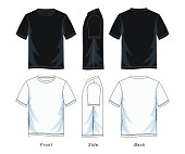 t-shirt for man. front look side and back, black and white vector image.