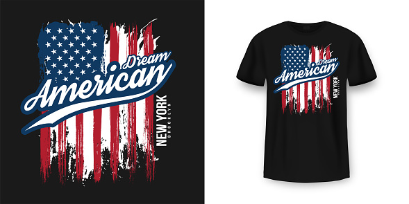 T-shirt graphic design with american flag and grunge texture. New York City typography t shirt and apparel design. Vintage and authentic print on t-shirt mockup