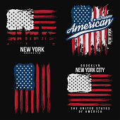 T-shirt graphic design with american flag and grunge texture. New York typography shirt design. Set of modern poster and t-shirt graphic design