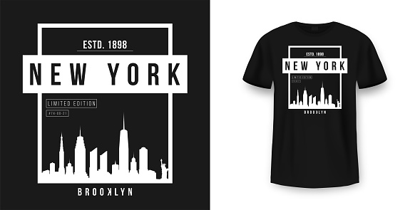 T-shirt graphic design with New York skyline silhouette in minimalistic style. New York City typography t shirt and apparel design. Urban and authentic print on t-shirt mockup