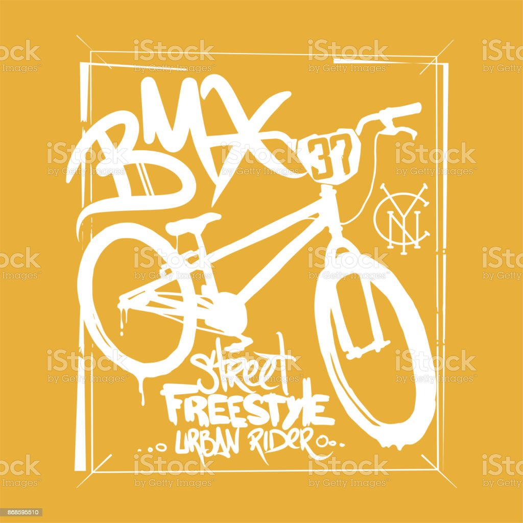 BMX-T-shirt-Grafiken. Extreme Bike street-Style. – Vektorgrafik