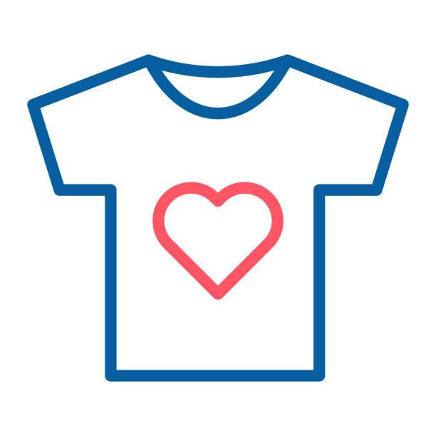 stockillustraties, clipart, cartoons en iconen met de icoon van het t-shirt met een hart-symbool. vectorillustratie dunne lijn. voor vrijwilligerswerk en liefdadigheid verenigingen, groepen, gemeenschap, non-profit organisaties. ook kunnen vertegenwoordigen, liefde en passie - non profit