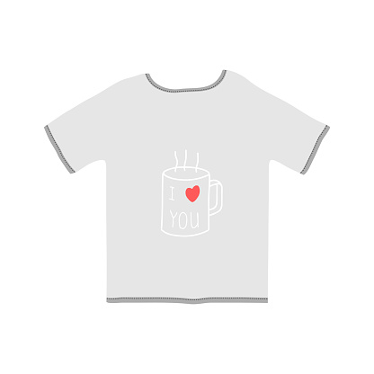 T-shirt icon with a mug and the inscription