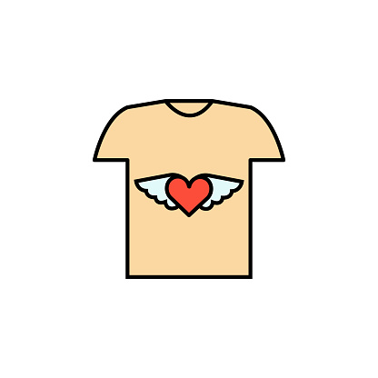 t-shirt illustration line colored icon. Signs and symbols can be used for web, logo, mobile app, UI, UX
