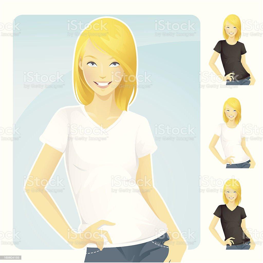 T-Shirt & Jeans Blond Woman vector art illustration