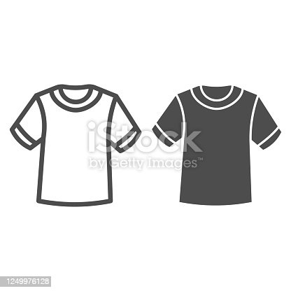 istock T-shirt line and solid icon, Summer clothes concept, unisex shirt sign on white background, casual t-shirt icon in outline style for mobile concept and web design. Vector graphics. 1249976128