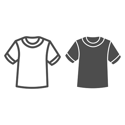 T-shirt line and solid icon, Summer clothes concept, unisex shirt sign on white background, casual t-shirt icon in outline style for mobile concept and web design. Vector graphics.