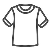 T-shirt line icon, Summer clothes concept, unisex shirt sign on white background, casual t-shirt icon in outline style for mobile concept and web design. Vector graphics