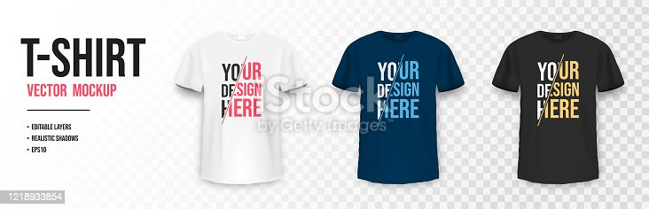 T-shirt mockup in black, white and blue colors. Mockup of realistic t shirt with short sleeves. Set of blank and basic t-shirts with empty space for design. Vector