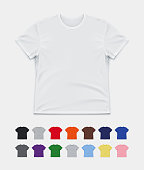 Realistic Vector Mockup of a Classic Unisex T-Shirt in 15 colors.