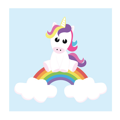 T-shirt, notebook design. Cute unicorn sitting on the rainbow.