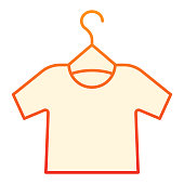 istock Tshirt on hanger flat icon. Shirt hanging red icons in trendy flat style. Clothing gradient style design, designed for web and app. Eps 10. 1209514792