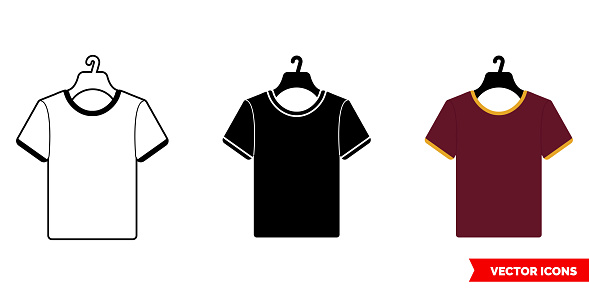 T-shirt on hanger icon of 3 types color, black and white, outline. Isolated vector sign symbol