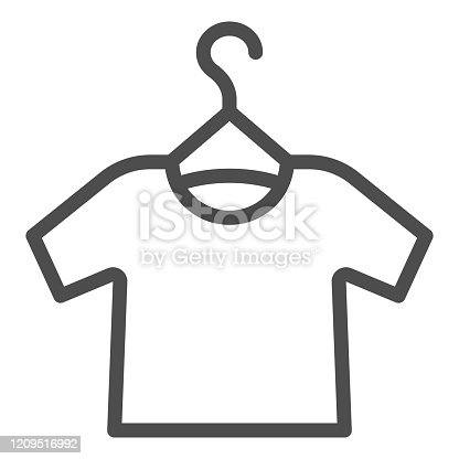 Tshirt on hanger line icon. Shirt hanging vector illustration isolated on white. Clothing outline style design, designed for web and app. Eps 10