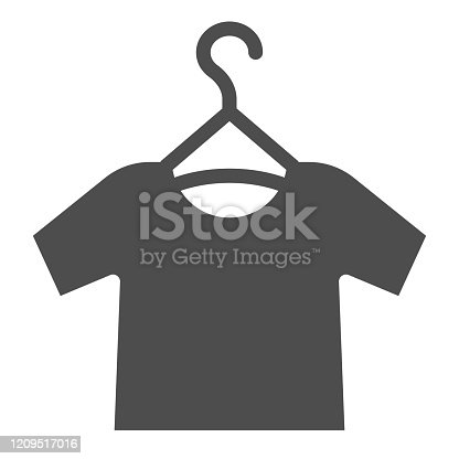 Tshirt on hanger solid icon. Shirt hanging vector illustration isolated on white. Clothing glyph style design, designed for web and app. Eps 10