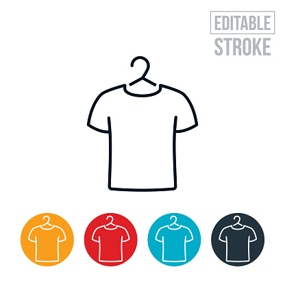 T-Shirt On Hanger Thin Line Icon - Editable Stroke