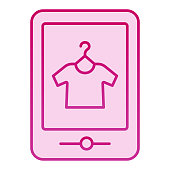 Tshirt online shop flat icon. Tshirt shopping on tablet pink icons in trendy flat style. Store online gradient style design, designed for web and app. Eps 10