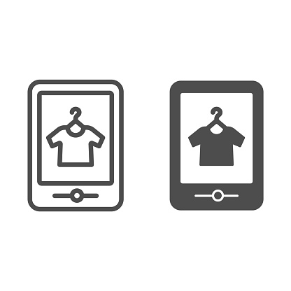 Tshirt online shop line and glyph icon. Tshirt shopping on tablet vector illustration isolated on white. Store online outline style design, designed for web and app. Eps 10.