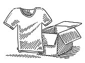 Hand-drawn vector drawing of a T-Shirt Out Of a Parcel. Black-and-White sketch on a transparent background (.eps-file). Included files are EPS (v10) and Hi-Res JPG.