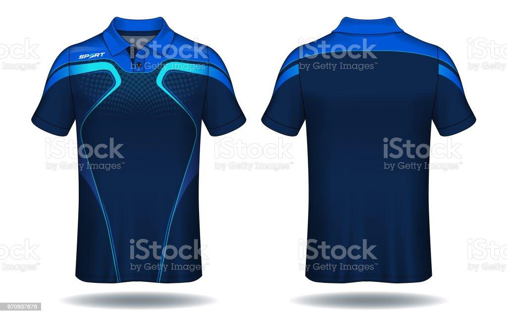 T-shirt polo design, blå och svart sport jersey layoutmall. - Royaltyfri Beskrivande färg vektorgrafik