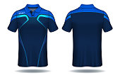 T-shirt polo design,Blue and black layout sport jersey template.