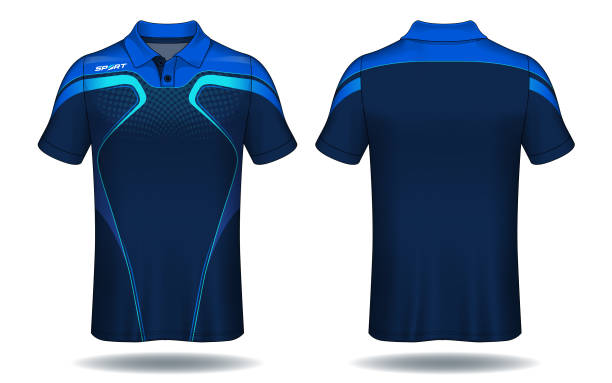 stockillustraties, clipart, cartoons en iconen met t-shirt polo ontwerp, blauw en zwart lay-out sport jersey sjabloon. - sportkleding