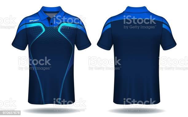 Tshirt Polo Design Blå Och Svart Sport Jersey Layoutmall-vektorgrafik och fler bilder på Beskrivande färg