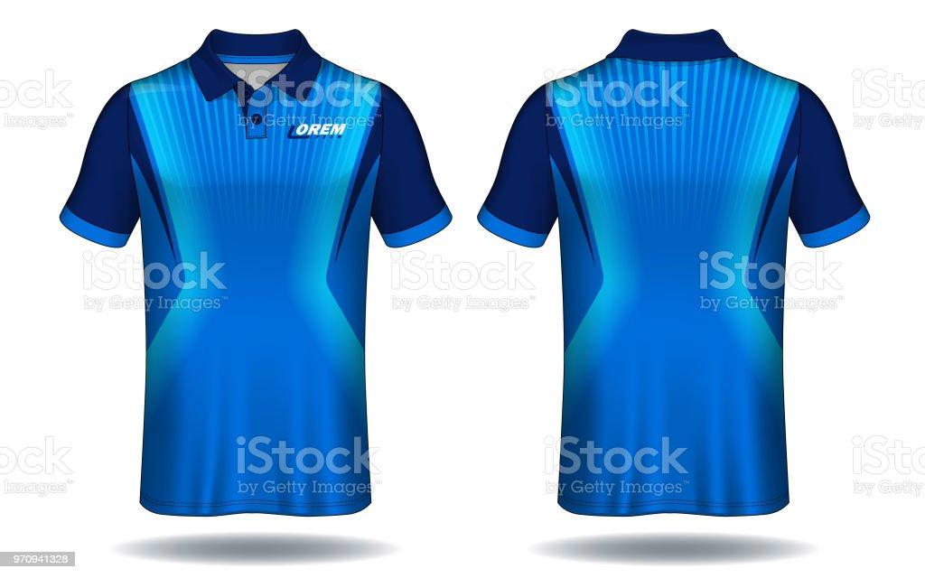 Tshirt Polo Designblue Layout Sport Jersey Template Stock Vector Art ...