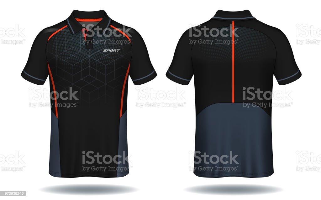 T-shirt polo design, röd och svart sport jersey layoutmall. - Royaltyfri Beskrivande färg vektorgrafik