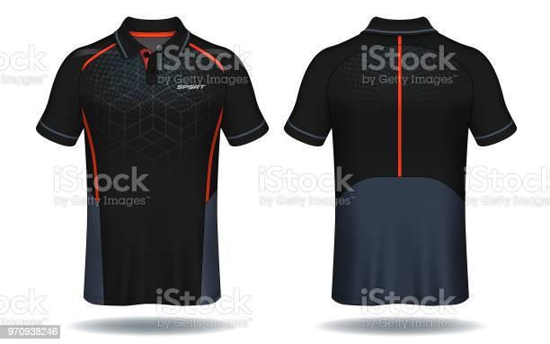 Tshirt Polo Design Röd Och Svart Sport Jersey Layoutmall-vektorgrafik och fler bilder på Beskrivande färg