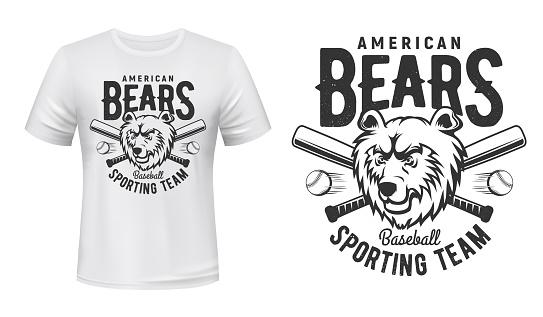 T-shirt print American bears baseball sport team