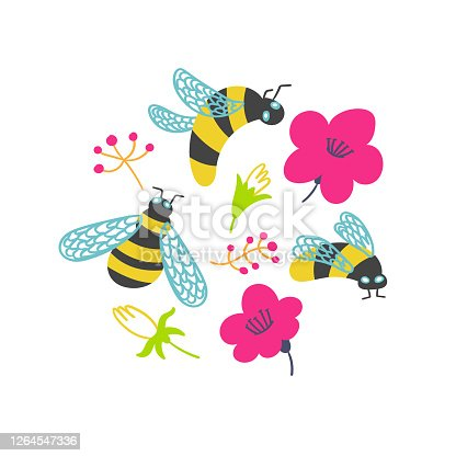 T-shirt print bumblebees and flowers