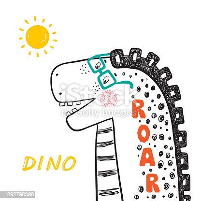 T-shirt print design for kids fashion with Cute Dinosaur in glasses. Summer card with Hand drawn doodle Cheerful Dinosaur. Cartoon Animal vector illustration. Print or Poster for Children