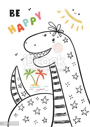 T-shirt print design for kids fashion with Cute Dinosaur. Summer card with Hand drawn doodle Cheerful Dinosaur. Cartoon Animal vector illustration