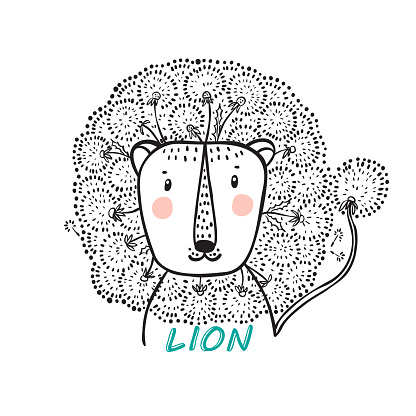 T-shirt print design for kids fashion with Cute Floral Lion. Hand drawn doodle Lion Head with Dandelion Flower Mane. Summer card. Cartoon Animal vector illustration. Print or Poster for Children