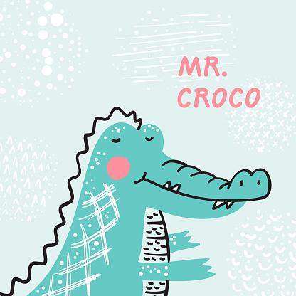 T-shirt print design for kids with Cute Crocodile. Cartoon Animal vector illustration