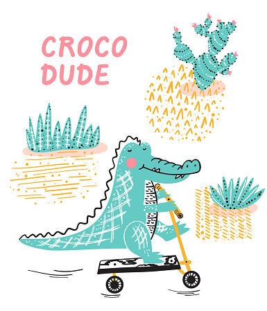 T-shirt print design for kids with Cute Crocodile with kick scooter. Cartoon Wild Animal vector illustration