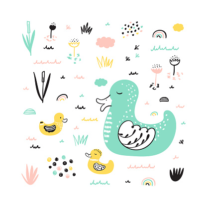 T-shirt print design for kids with Cute Ducks. Mother duck swims with her little cute ducklings in the pond. Birds Vector illustration. Scandinavian print or poster design, Baby shower greeting card