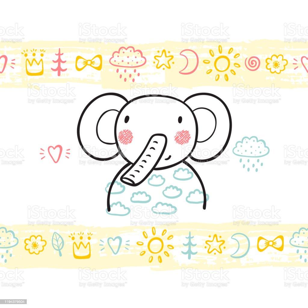 El Cizilmis Doodle Sevimli Bebek Fil Ve Boya Firca Darbeleri Ile