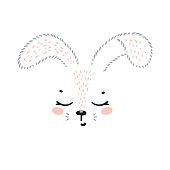 T-shirt Print Design for Kids with Little Cute Bunny Head. Easter Rabbit Face. Cartoon Animal Vector Illustration. Baby Shower Scandinavian Poster Design