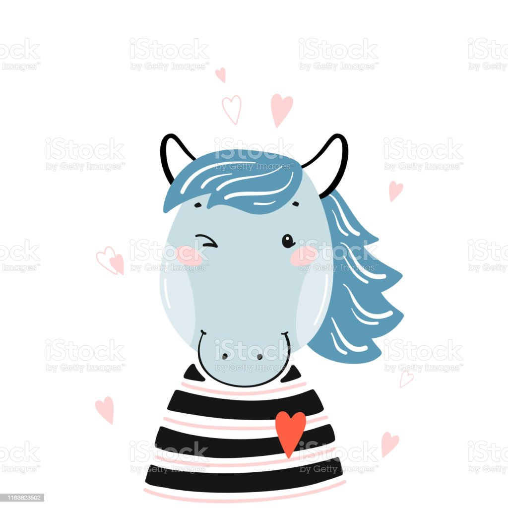 Tshirt Print Design For Kids With Little Cute Horse Head With Hearts Horse Face Doodle Cartoon Kawaii Animal Vector Illustration Scandinavian Print Or Poster Design Baby Shower Greeting Card Stock Illustration
