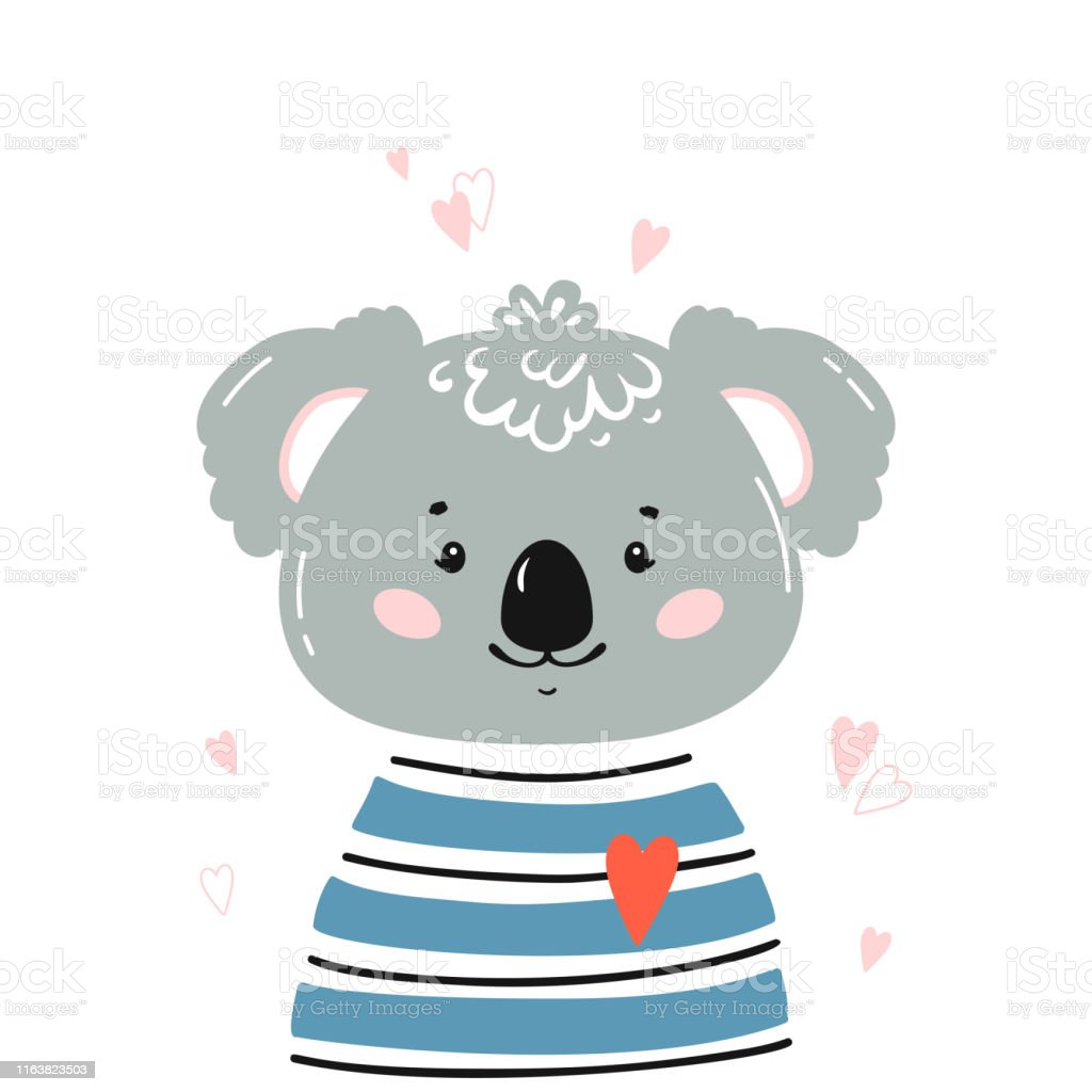 Tshirt Print Design For Kids With Little Cute Koala Head With